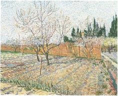 Orchard with Peach Trees in Blossom Vincent van Gogh Painting, Oil on Canvas Arles: April, 1888 Private collection F: ;551, ;JH: ;1396