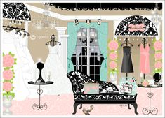 Bridal-boutique interior design-damask-wedding boutique-illustration-wedding dresses