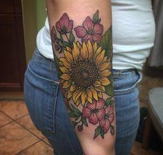 The sunflower for my birthday tattoo ☺ tatting, leaves, ink, flowers, leaf tattoos Wolf Tattoos, Elbow Tattoos, Up Tattoos, Time Tattoos, Future Tattoos, Body Art Tattoos, Sleeve Tattoos, Tattoos For Women, Tatoos