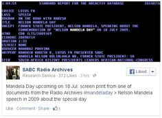 Mandela Day upcoming on 18 Jul: screen print from one of documents from the Radio Archives  > Nelson Mandela speech in 2009 about the special day Nelson Mandela Day, Libraries, Screen Printing, Screen Printing Press, Screenprinting, Book Shelves