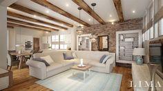 Lima Design modern és rusztikus lakberendezés Living Room Decor Grey And White, Beautiful Living Rooms, Living Room Kitchen, Interior Design Living Room, Sweet Home, Modern Design, House Design, House Styles, Furniture