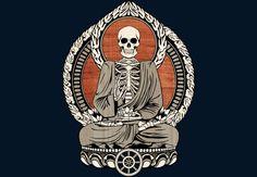 Starving Buddha Woodgrain. #buddha #buddhist #buddhism #skeleton #art #design #illustration #skull #shirt #spiritual #meditation