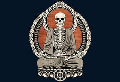 Starving Buddha Woodgrain. #buddha #buddhist #buddhism #skeleton #art #design #illustration #skull #shirt #spiritual #meditation