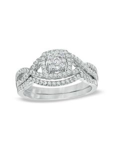 Zales 1/2 CT. T.W. Diamond Cluster Twist Shank Bridal Set in 10K White Gold 19982908 Engagement Ring - The Knot