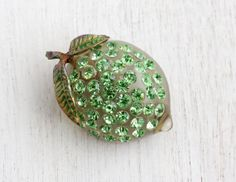 Vintage Lime Fruit Brooch Pin - 1940s Lucite Early Plastic Green Rhinestone Austrian Costume Jewelry Pin / Forbidden Fruit by Maejean Vintage on Etsy, $64.00