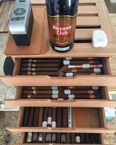 Letting my babies breath outside of the cooler for a little bit while they get to know the new bottle of Havana Club Anejos.