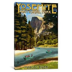 "East Urban Home 'U.S. National Park Service Series: Yosemite National Park (Merced River)' Vintage Advertisement on Canvas Size: 26"" H x 18"" W x 1...."