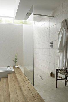 Split level, timber floor, bathroom. Contemporary glass paneled, open shower.