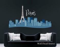 Paris Skyline With Eiffel Tower Decal - Wall Vinyl Decal - Paris Wall Decor