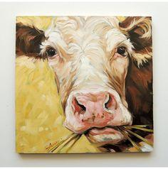 Cow Painting, 8x8 inch original impressionistic oil painting of a Cow, paintings of cows, Jersey cows, cow art