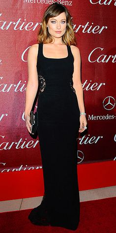 Olivia Wilde in black lace-back Monique Lhuillier gown at Palm Springs Film Festival