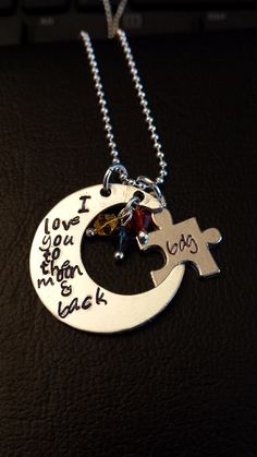 """""""I love you to the moon and back"""" with puzzle charm for Autism"""