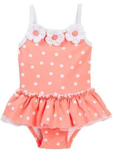 Little Me Coral Dot Swimsuit (Baby Girls)