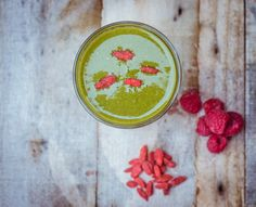 Kale, apple, raspberry, banana, and goji berry smoothie! Drink your greens!