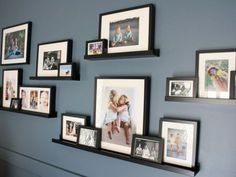 DIY Family Room Renovation and Reveal by Designer Trapped in a Lawyer's Body. DIY Family Room Renovation and Reveal Family Pictures On Wall, Family Picture Walls, Display Family Photos, Room Pictures, Shelves For Pictures, Living Room Picture Ideas, Wall Photos, Photo Shelf, Picture Arrangements