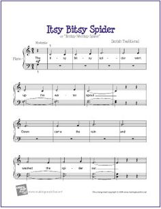 Itsy Bitsy Spider | Free Sheet Music for Easy Piano - http://makingmusicfun.net/htm/f_printit_free_printable_sheet_music/itsy-bitsy-spider-beginner-piano.htm