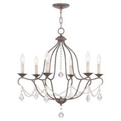 "Cast a warm glow in your dining room or master suite with this candelabra-inspired chandelier, showcasing draped beading and a bronze finish.  Product: ChandelierConstruction Material: Metal and glass crystalColor: BronzeFeatures:  Includes 120"" wire and 36"" chain Accommodates: (6) 60 Watt candelabra bulbs - not includedDimensions: 26"" H x 25"" Diameter"