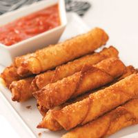 Mozzarella Cheese Sticks in Won Ton Wrappers - I actually cut each stick into thirds and then baked them for about 13 minutes @ 400 degrees.  Dipped them in spaghetti sauce.  YUM!!!!!!