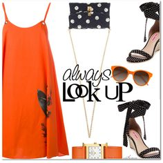 Orange Polka by arethaman on Polyvore featuring Cacharel, Betsey Johnson, Dolce&Gabbana, Hermès, EyeBuyDirect.com, GetTheLook, PolkaDots, orange, outfitidea and colourofthemonth