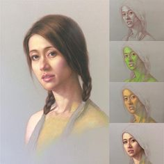 """The Chinese Beauty"", work in progress. Pastel on Yi Cai sanded paper. #stepbystep #artdemo #green #pastel #painting #portrait #portraiture #pastelpencil #pastelpainting #chinesegirl #prettygirls #draw #drawing #classicaldrawing #realist"