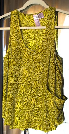 Copious: Gemma Chartreuse Silk Tank with Big Pocket