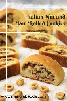 A must have cookie on your dessert tray! #nutrollcookies #Italiancookies Jam Cookies, Biscotti Cookies, Roll Cookies, Jam Roll, Dessert Tray, Fig Jam, Italian Cookies, Italian Recipes, Vegan Recipes