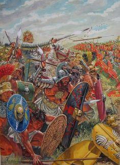 Spartacus leading his men against Rome - art by Giuseppi Rava