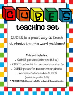CUBES is a great method for teaching students an effective way to approach word problems.This set includes:CUBES posters (color and B & W)CUBES cut-outs for use on anchor charts (color and B & W)CUBES pieces for interactive notebooks (color and B & W)Worksheets focused on CUBES (The three worksheets are varied for grades 2-5) *** All CUBES letters are available in two different fonts!For more word problem practice, check out these additional resources:Addition and Subtraction Clue...