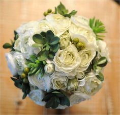 Bouquet of White Ranunculus and Succulents