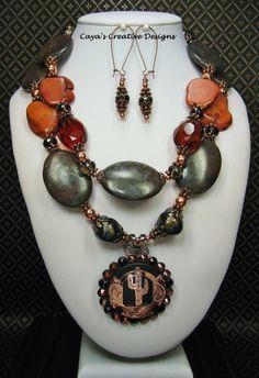 Western Cowgirl Necklace / Southwest Jewelry / Brown Statement Necklace / Chunky Gemstone Jewelry / Southwestern Necklace - CaCTuS CoWGiRL