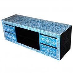 Pandora Bone inlay Blue Floral 4 Drawer TV Unit