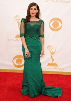 Mayim Bialik at Emmy Awards 2013.