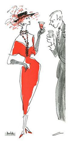 """1950 illustration by Dorrit Dekk for """"The Art of Making Idle Conversation."""" #20thCmod"""