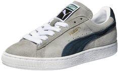 PUMA Suede Classic Sneaker,Limestone Gray/Midnight Navy,6…