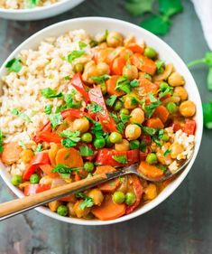 Easy vegan Chickpea Coconut Curry. Ready in 25 minutes! The Thai curry sauce is FULL of flavor and you can use any of your favorite vegetables. {clean eating, gluten free} Recipe at wellplated.com | @wellplated