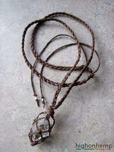 A healing crystal you can bring with you everywhere. This hemp necklace was made with brown hemp cord in a braided style with a clear raw crystal