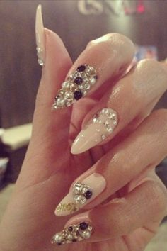 Tan color stiletto nails