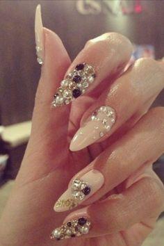 Tan color stiletto nails
