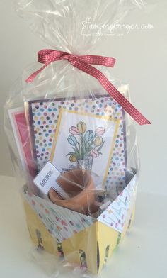 Easter basket, Mother's Day, birthday, hostess gift, or get well basket made with Bigz Berry Basket die and other Stampin' Up! products.