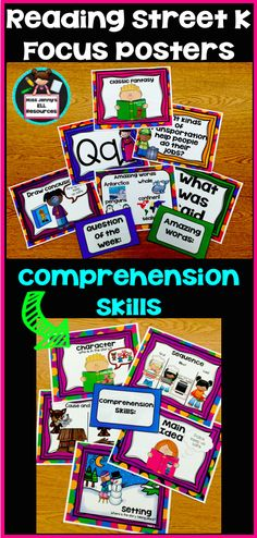 These posters are bright and colorful with lots of visuals to help all students focus on their learning in reading. Print-N-Go Print out on color printer. There are 6 weekly posters for each week: 1) question of the week (yellow frame) 2) phonics (blue frame) 3) Sight Words (Green Frame) 4) Amazing Words 5) Genre (Pink Frame) 6) Comprehension skill (Purple Frame) #kindergarten #Reading #teacherspayteachers