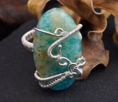 Silver ring with Amazonite / wire wrapped by AnnaPdesign on Etsy