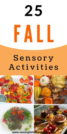 25 Fall sensory activities for kids. Are you looking for Fall or Autumn activities to do with your toddlers and preschoolers? These sensory play ideas are perfect for letting kids explore the colors, textures and wonders of the changing seasons. #fall #autumn #sensory #toddlers #preschooler Sensory Activities Toddlers, Autumn Activities For Kids, Sensory Bins, Activities To Do, Sensory Play, Toddler Preschool, Autumn Theme, Projects For Kids, Play Ideas