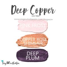 Deep Copper Eye Trio uses three SeneGence ShadowSense : Pink Frost, Copper Rose Shimmer and Limited Edition Deep Plum. These creme to powder eyeshadows will last ALL DAY on your eye. #shadowsense #trio #eyeshadow