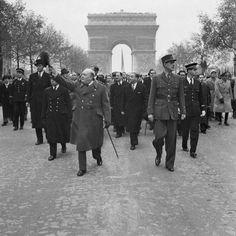 CHURCHILL et le Général Charles-de-Gaulle   //French Armistice Day Parade, Paris 1944  This photograph shows Winston Churchill and Charles de Gaulle walking along the Champs-Elysee in the Armistice Day Parade.
