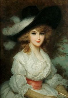 Luigi Rossi (Swiss, 1853-1923) - Portrait of a lady wearing a white dress and black hat in the 18th Century style