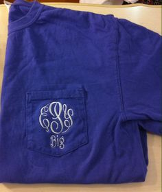 Comfort Colors Monogram Big/Little/GBig Pocket Tees by The Initialed Life