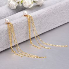 YS Pearl Jewelry 18K Yellow Gold High Quality AAA White Round Japanese Akoya Pearl Tassel. Click visit to buy #FineJewelryEarring #Jewelry #Earring