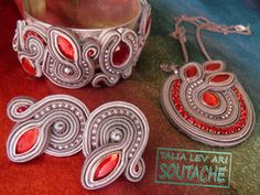 soutache set of earrings, pendant and bracelet by caricatalia