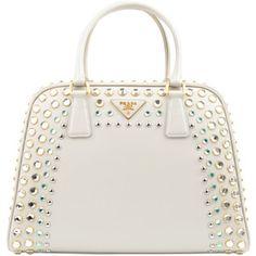 PRADA Saffiano Vernice Crystal Pyramid Bag