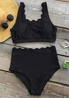 Perhaps it is the best time to plan next beach travel, babe~ After all, this pretty bikini set need a wonderful stage to show. Suit in wave-cut & high-waisted swimsuit, leave your gorgeous silhouette in the setting sun~ Free shipping & Shop Now!